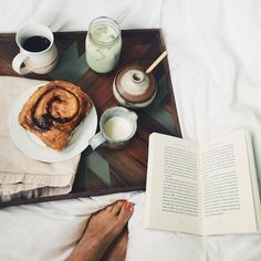 Breakfast in bed ☕️ This beautiful handmade serving tray by @ifyougiveagirlasaw • Just finished reading A Gift from the Sea by Anne Morrow Lindbergh, so good, sad to be done. ( # @bethanymenzel via @latermedia )