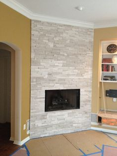Fireplace with Realstone White Birch ledge stone.