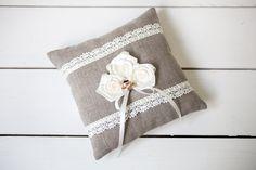 Ring pillow - Ring Bearer Pillow - Linen Ring Bearer Pillow -  Rustic Wedding linen lace Ring Pillow with roses by PetitDeLin on Etsy