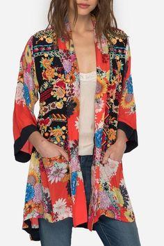 Johnny Was Mishka Rose Kimono Silk Jacket, Kimono Jacket, Kimono Fashion, Boho Fashion, Fashion Ideas, Fashion Inspiration, Johnny Was Clothing, Conservative Outfits, Vintage Kimono