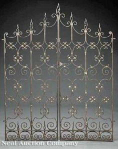 antique iron gates for sale | ... pair of Spanish style wrought iron gates