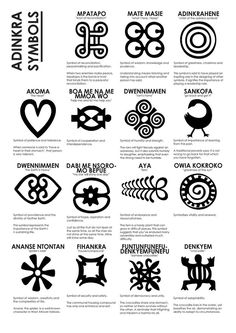 Adinkra [oon-din-krah] are visual symbols, originally created by the Akan of Ghana and the Gyaman of Cote d'Ivoire in West Africa, that represent concepts or aphorisms. Adinkra are used on fa… Símbolos Adinkra, Adinkra Symbols, Mandala Symbols, Tribal Symbols, African American Art, African Art, African Culture, Native American, African Masks
