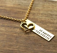 Coordinates with Heart Necklace For Her Womens Necklace GPS Latitude Longitude Wedding Engagement Valentines Day Gift www.sierrametaldesign.com
