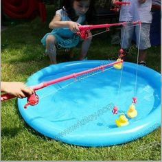 Inflatable Fish Pond Fishing Game with Magnetic Ducks Fishhook 12398 . Barbie Birthday, Pig Birthday, Birthday Party Games, Third Birthday, Peppa Pig Party Games, Party Favors For Kids Birthday, Birthday Ideas, Duck Toy, Farm Party