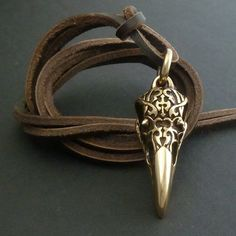 Bird Skull Raven Skull Necklace with Tribal Design Bronze