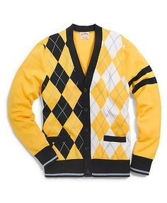 Cotton and Wool Mixed Argyle Cardigan