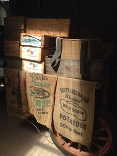 National Trust Museum in Waikerie, SA, Australia - Sacks and Boxes on an old wagon.