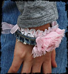 Denim lace shabby cuff / bracelet ribbon tie by kellyjoe