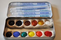 Nicole at One Golden Apple shows you how to make a travel water color kit using an upcycled mint tin and some polymer clay. I love the tip on using fantastix pens which you can fill with water to m...