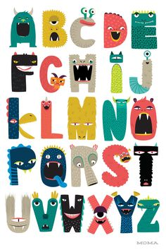 {Print} ABC monsters for back to school! Design Alphabet, Alphabet Art, Letter Art, Alphabet Posters, Creative Lettering, Lettering Design, Hand Lettering, Abc Poster, Alfabeto Animal