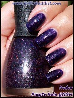 purple glitter polish