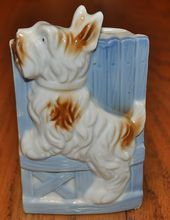 White and Brown Scottie Dog Wall Pocket