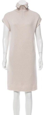 Brunello Cucinelli Monili-Trimmed Cashmere Dress