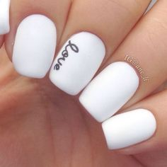 Better-Than-Basic White Nail Designs With a steady hand and a small brush, add dainty script to opaque white nails for a look that's both girly and modern. Manicure Gel, White Manicure, Nail Polishes, Manicure Images, Polish Nails, Love Nails, Fun Nails, S And S Nails, Black And White Nail Designs