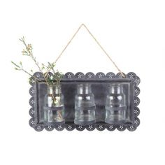 Bud Vases with Plaque - A lovely addition to any room, this #décor piece features a tin plaque with three glass vases. Simply snip a sprig or bud for a natural touch!