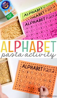 Awesome ABC games! Sort alphabet pasta by letter. Great for upper and lowercase recognition for preschool and kindergarten kids. #abcgames #alphabetfun