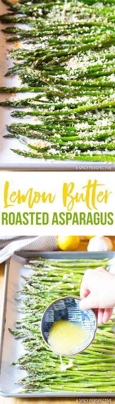 Zesty Lemon Butter Roasted Asparagus Recipe via @spicyperspectiv