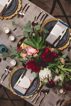 Beautiful tablescape, place setting, greenery, dishes, tableware
