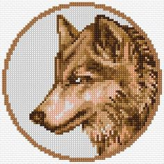 wolf head in circle Cross Stitch Animals, Cross Stitch Kits, Cross Stitch Designs, Cross Stitch Patterns, Diy Bead Embroidery, Embroidery Designs, Pixel Art, Filet Crochet Charts, Minecraft Designs