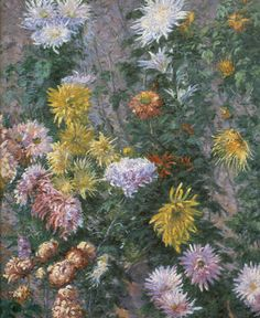 Gustave Caillebotte, White and Yellow Chrysanthemums Fine Art Reproduction Oil Painting