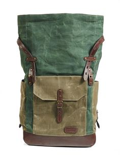 86a147c3a1151 Green waxed canvas backpack laptop. Green plate   tartan rolltop canvas  bag. Leather backpack men Waxed cotton rucksack Personalized gift
