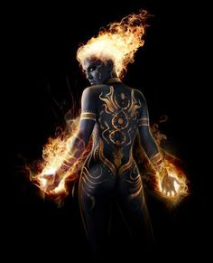 f Fire Genasi Monk Sorcerer Female Underdark Traveler med Fantasy Character Design, Character Inspiration, Character Art, Dnd Characters, Fantasy Characters, Dungeons And Dragons, Elemental Powers, Elemental Magic, Character Portraits