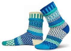 Solmate Socks - Mismatched Crew Socks; Made in USA; Zephyr Small