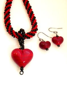 Kumihimo Beaded Necklace Red Heart Pendant