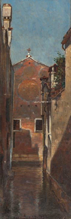 """""""Venice,"""" David Maitland Armstrong, 1872, oil on board, 10-3/4 x 3-1/2"""", private collection."""