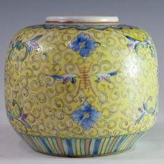 Antiguos chinos Famille Jaune jarrón de porcelana