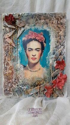 """""""Φρίντα""""   Χειροποίητος Καμβάς με Μεικτές Τεχνικές και Powertex   Calliope's Powertex Art Decoupage, Mixed Media, Painting, Painting Art, Paintings, Painted Canvas, Drawings, Mixed Media Art"""