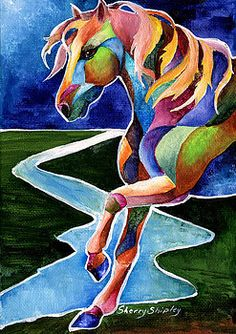 Dance 2 River Dance 2 Painting by Sherry Shipley - River Dance 2 Fine Art Prints and Posters for SaleRiver Dance 2 Painting by Sherry Shipley - River Dance 2 Fine Art Prints and Posters for Sale Horse Drawings, Animal Drawings, Horse Quilt, Painted Pony, Arte Pop, Equine Art, Horse Art, Whimsical Art, Painting Frames