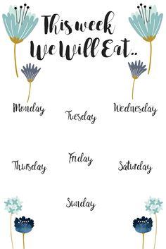 Free Printable Weekly Meal Planner