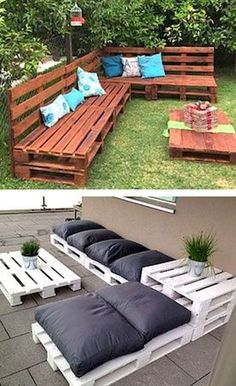 Pallet sofa furniture 8 Creative Up-cycled Pallet Ideas For The Garden - Container Water Gardens Pallet Garden Furniture, Outdoor Furniture Sets, Garden Pallet, Rustic Furniture, Kitchen Furniture, Antique Furniture, Furniture Stores, Outdoor Decor, Furniture Layout