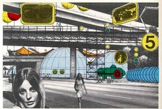 Archigram instant city 1, illustrative style, illustration, Architecture