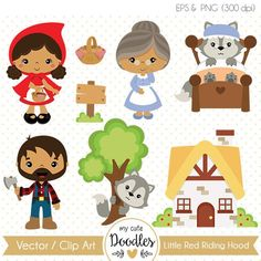 Little Red Riding Hood clipart, Wolf clipart, cute woodland, boy and girl woodland theme, fairytale clip art - Commercial use - Wolf Clipart, Vector Clipart, Doodles Bonitos, Red Ridding Hood, Paper Embroidery, Woodland Theme, Embroidery Techniques, Art Plastique, Little Red