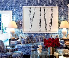 Tory Burch's Blue and White room in NYC Home via Bazaar
