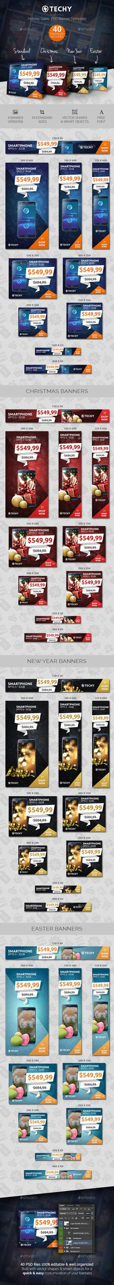 Techy - Holiday Sales PSD Banner Template