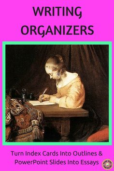 Help students transform their writing from notes or key phrases into more detailed and complete work with these resources. Includes graphic organizers that walk students through transforming index cards into outlines & PowerPoint presentations into essays. Also includes posters explaining what an outline is and what an essay is. Great for ELLs & other students as well!