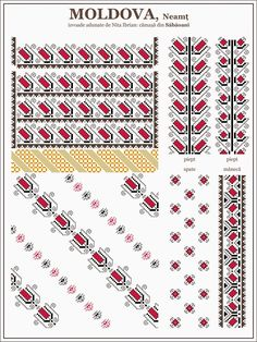 Ie Moldova - Semne cusute. Folk Embroidery, Beaded Embroidery, Embroidery Patterns, Knitting Patterns, Loom Beading, Beading Patterns, Cross Stitch Designs, Cross Stitch Patterns, Republica Moldova