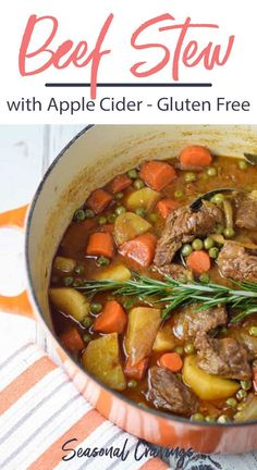 Apple Cider Beef Stew - This Apple Cider Beef Stew is gluten free and full of comfort. Its an easy dinner to throw together and tastes great the next day. Its the perfect meal to make for company over the holidays. Beef Recipes, Soup Recipes, Vegetarian Recipes, Dinner Recipes, Healthy Recipes, Family Recipes, Easy Recipes, Recipies, Gluten Free Soup