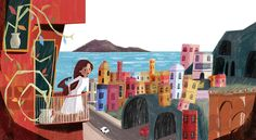 Illustration by Maxine Lee-Mackie www.maxinelee.com  #illustration #design #concept #italy #colorful #childrensbooks #balcony #girl #woman #art