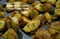 3 ingredient parmesan crusted potato bites  #apinchofchaos #potatoes #pesto #superbowl