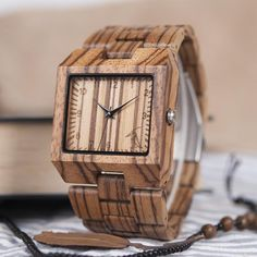 Square Zebra Wood Bamboo Men's Top Quartz Casual Brand Watch With Leather Strap