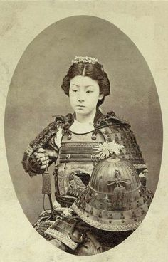 The Children of The Earth... Ignition...  [ Onna-bugeisha ] (女武芸者)  Vintage 1890 photograph of a Japanese female warrior