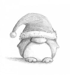 Christmas Penguin by B-Keks on DeviantArt - Part I of my new Penguin series 😀 One of the small brothers of this one: - Easy Christmas Drawings, Christmas Sketch, Christmas Doodles, Christmas Art, Minimal Christmas, Simple Christmas, Pencil Art Drawings, Art Drawings Sketches, Animal Drawings