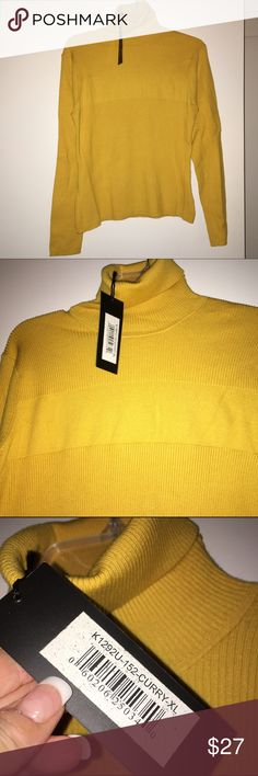 """Curry turtleneck BRAND NEW! Super chic and gorgeous """"curry"""" yellow turtleneck sweater, ribbed. Half cotton half tencil with stretch. Actually more of a goldenrod color. Nice quality. 23"""" long shoulder to hem. Kathryn Barclay Sweaters Cowl & Turtlenecks"""