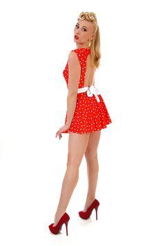 Sample SALE  Tess Red Polka Dot Swim Dress  Vintage by DANALIAbyDP, $70.00