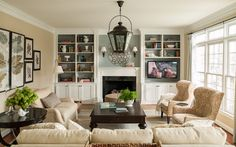 love these built ins. a great way to seamlessly incorporate a large tv 6th Street Design School | Kirsten Krason Interiors