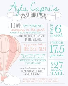 Birthday facts poster Hot air balloon party by PrettiestPrintShop